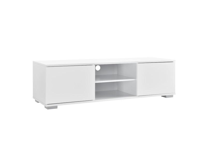 en casa meuble tv avec compartiments et portes buffets bas televiseur armoire bas 34 5cm x 120cm x 40cm mdf blanc