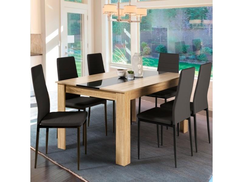 table a manger georgia 6 personnes imitation hetre et noire 140 cm