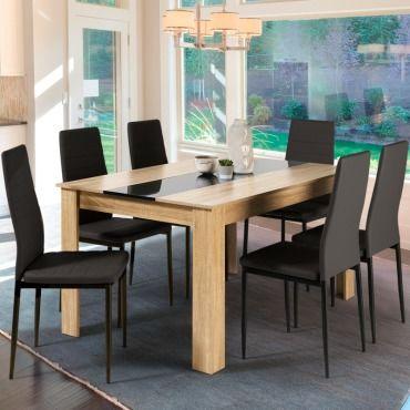 table a manger georgia 6 personnes imitation hetre et noire 140 cm q93103538