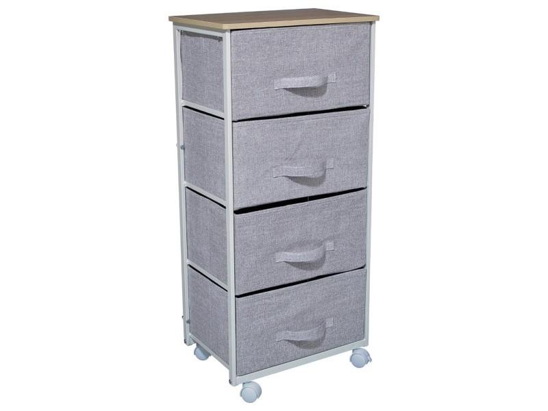 meuble de rangement 4 tiroirs gris clair a roulettes