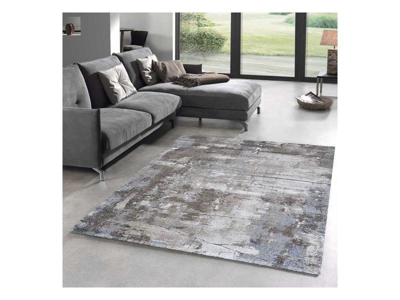 tapis design et moderne 160x230 cm rectangulaire oxivan gris salon adapte au chauffage par le sol