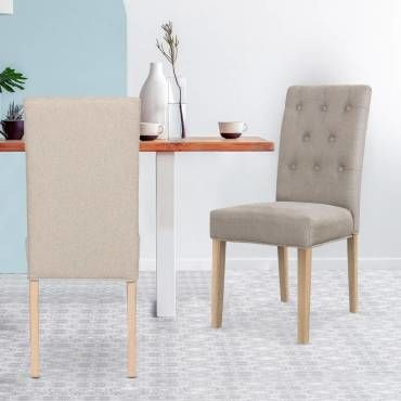 lot de 2 chaises costel tissu beige