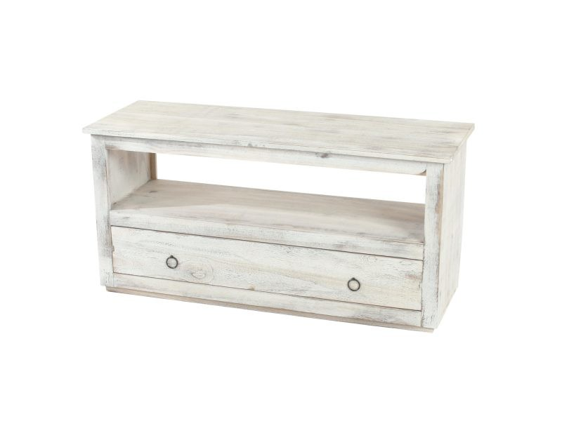 meuble tv meuble bas commode 1 niche 1 tiroir shabby chic vintage blanc