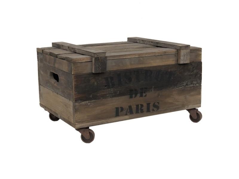 grand coffre bois industriel a roulettes 74 cm x 45 cm x 38 50 cm