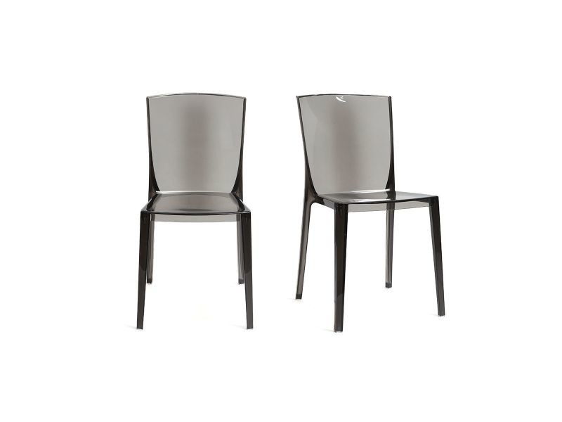 chaises design fumee transparentes empilables lot de 2 island