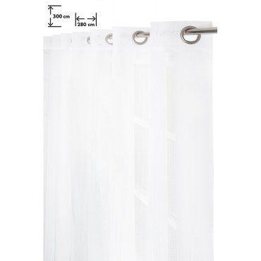 voilage 280 x 300 cm quatorze oeillets grande largeur grande hauteur effet naturel fines rayures relief blanc g40835692