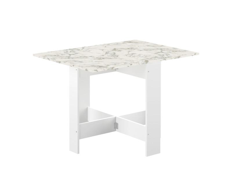 table pliante papillon blanc et marbre