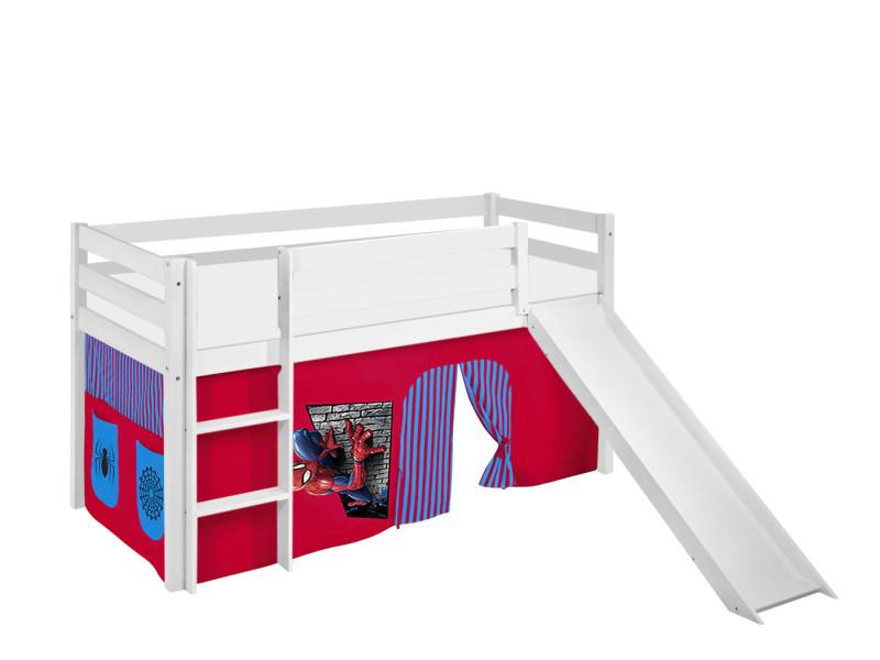 lit sureleve ludique jelle 90x200 cm spiderman lilokids blanc laque avec toboggan et rideaux