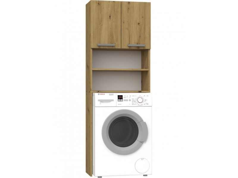 como armoire de salle de bains lave linge 183x64x30cm meuble pour machine a laver rangement buanderie chene
