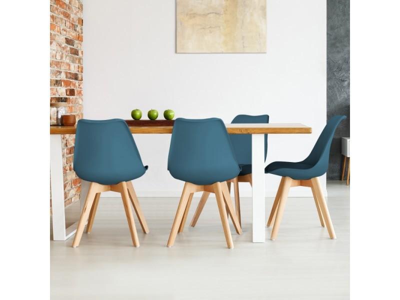 lot de 4 chaises sara bleu canard pour salle a manger