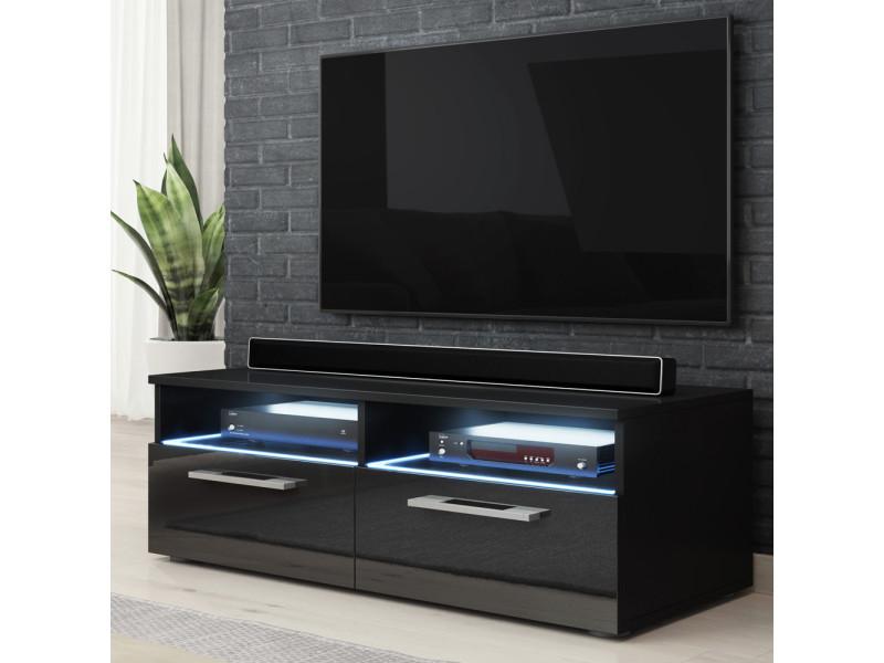 meuble tv silver 100 cm noir mat noir brillant avec led