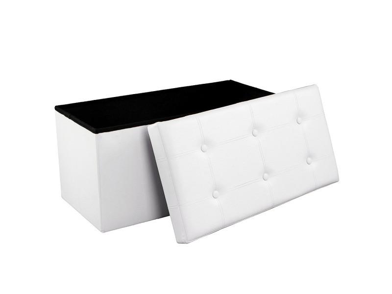 banc coffre de rangement pouf de rangement pliable blanc 76 x 38 x 38 cm lsf106 songmics