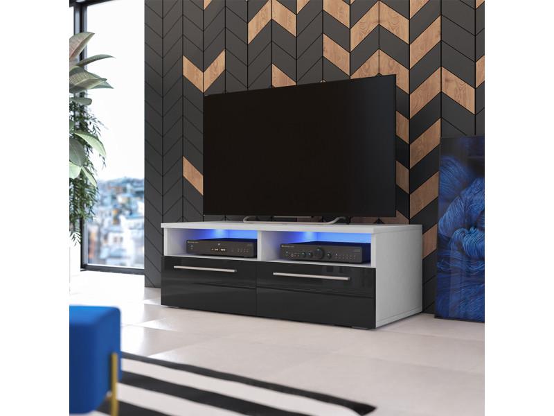 meuble tv phiris 100 cm blanc mat noir brillant avec led