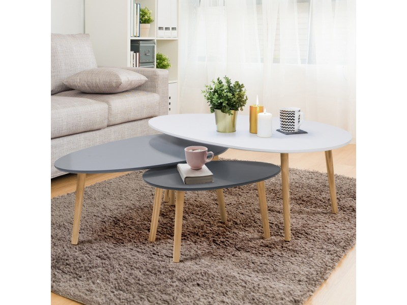 table basse blanc gris