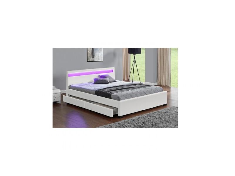 l erebe blanc structure de lit en simili avec rangements sommier et led integres 140 x190 cm