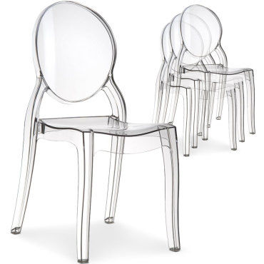 lot de 4 chaises medaillon diva plexi