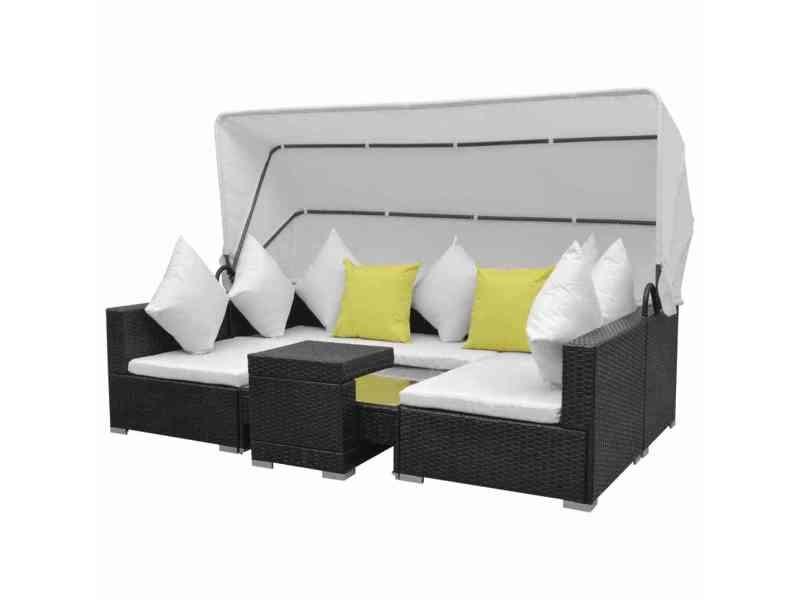 icaverne ensembles de meubles d exterieur serie mobilier de jardin 23 pcs avec auvent noir resine tressee