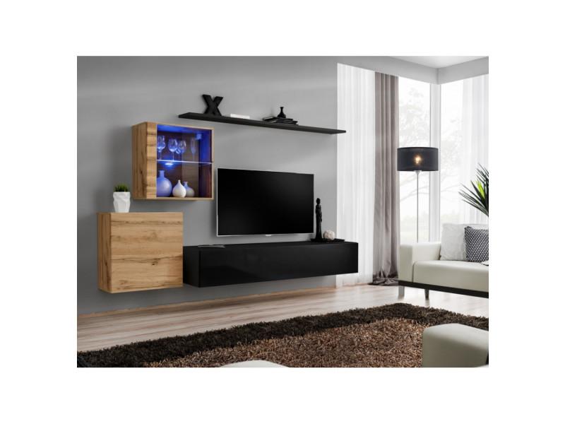 ensemble mural switch xv 2 vitrines 1 banc tv 2 etageres bois et noir modele 1