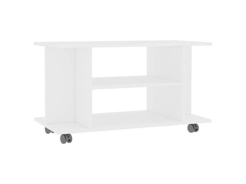 icaverne meubles tv ensemble meuble tv avec roulettes blanc 80 x 40 x 40 cm agglomere