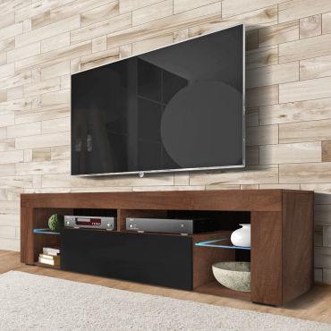meuble tv banc tv bianko 140 cm noyer caravaggio noir brillant avec led g82391492
