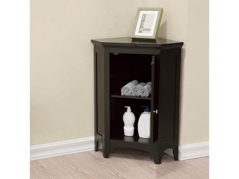 meuble d angle bas de rangement de salle de bain ethan bois fonce elegant home fashions elg 596
