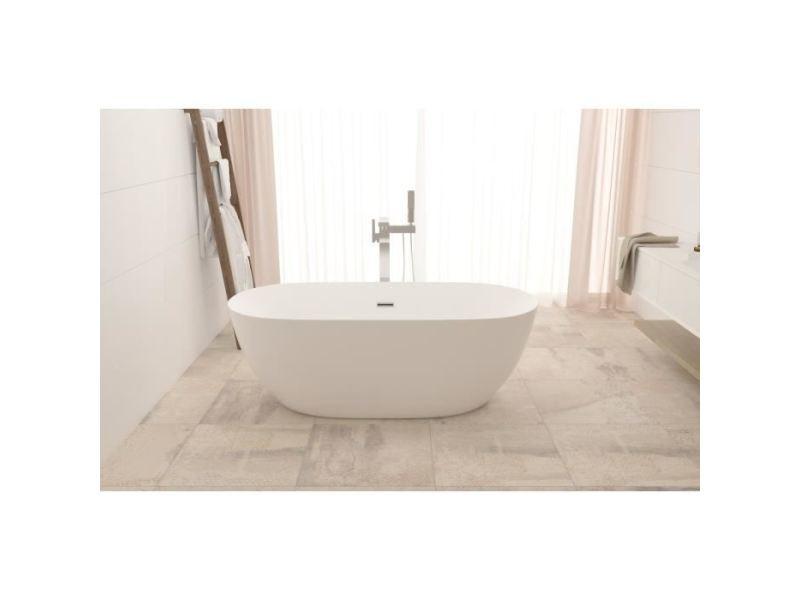 baignoire kit balneo baignoire ilot ovale design 170x80 cm en acrylique blanc siphon central
