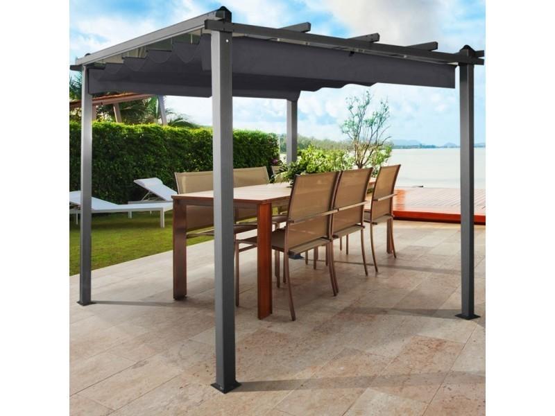 pergola toit retractable gris tonnelle 4 pieds 3x4m