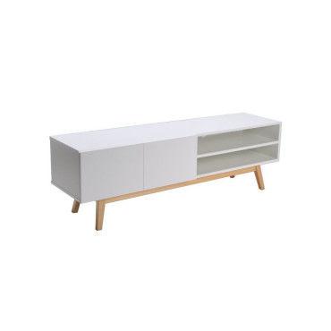 home meuble tv scandinave laque blanc pietement en bois massif l 160 cm h95770993