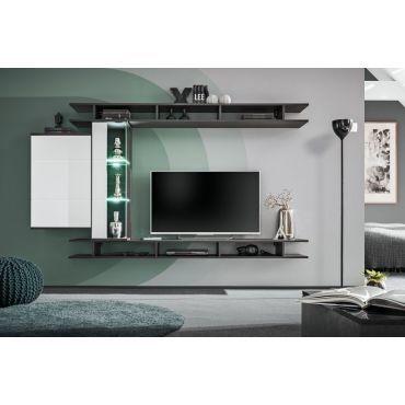ensemble meuble tv mural game l 230 x p 35 x 130 cm blanc et noir p25451224