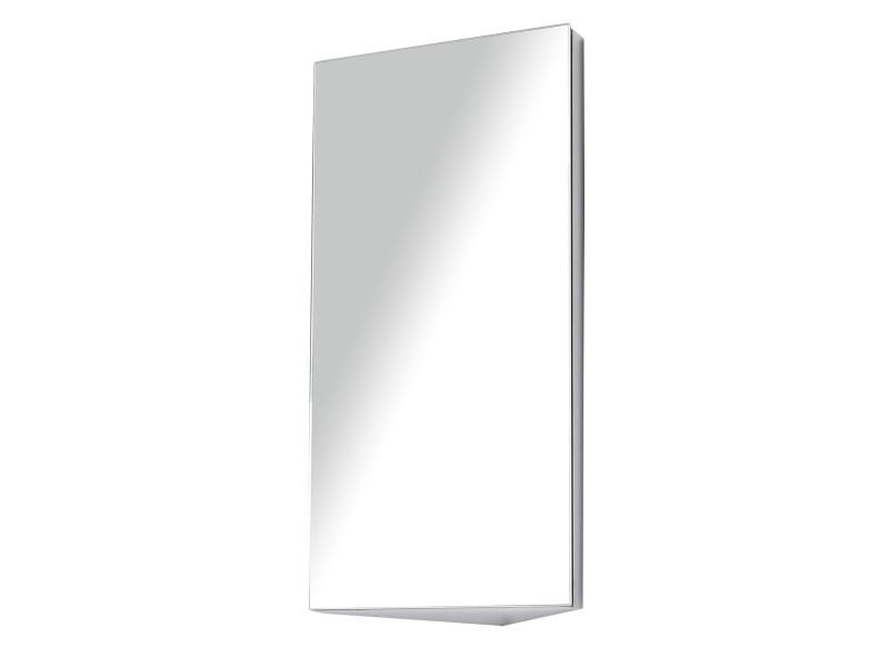 armoire miroir rangement toilette salle de bain meuble mural d angle 60 x 30 x 18 4 cm acier inoxydable