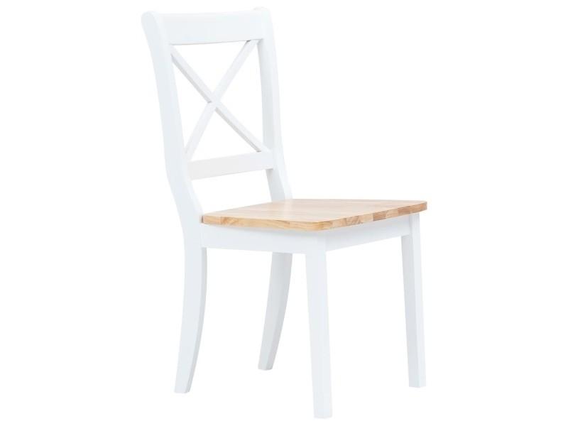 icaverne chaises de cuisine famille chaises a diner 2 pcs blanc et bois clair bois d hevea massif