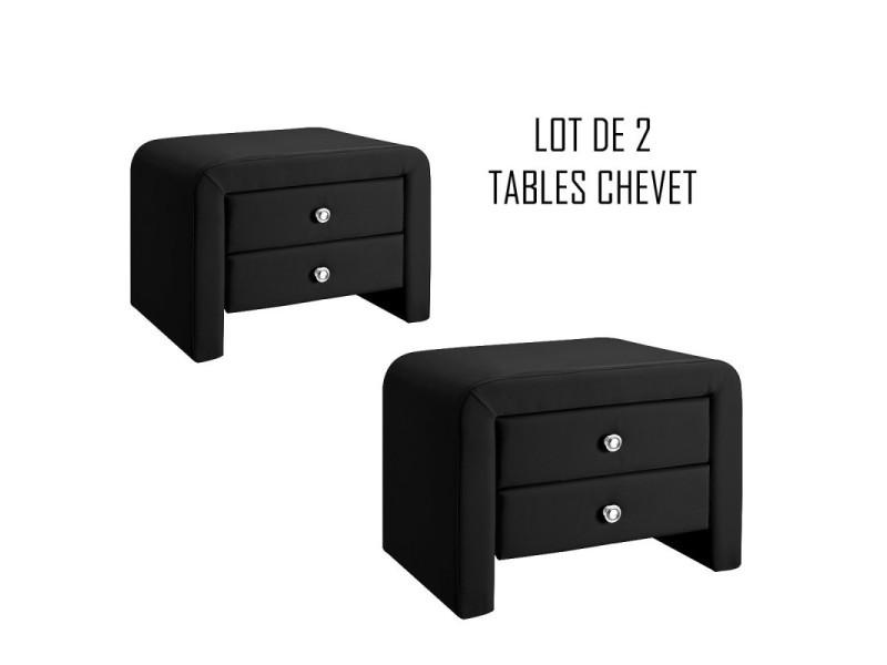 table chevet design noir eva x2