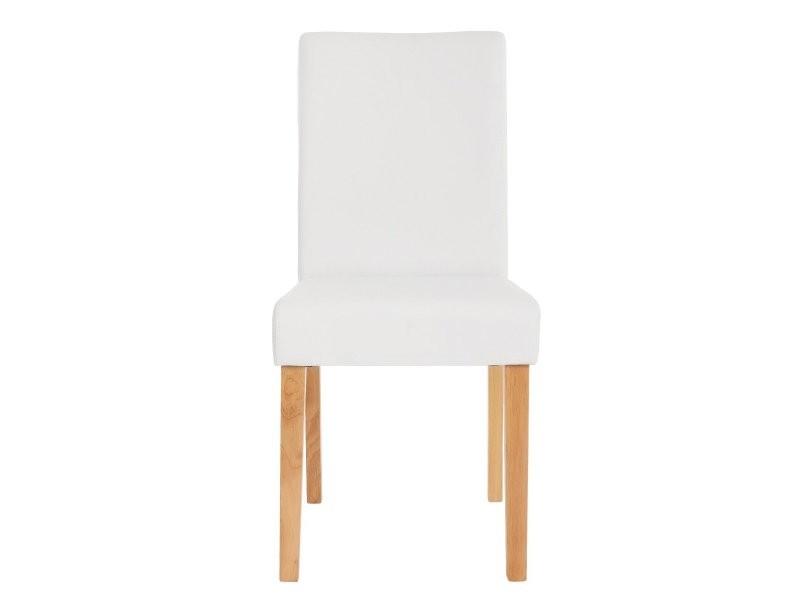 lot de 4 chaises de salle a manger simili cuir blanc mat pieds clairs cds04138
