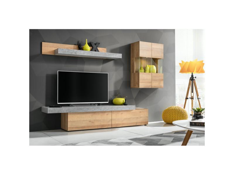 ensemble meuble tv mural concret l 230 x p 40 x h 160 cm beige et gris