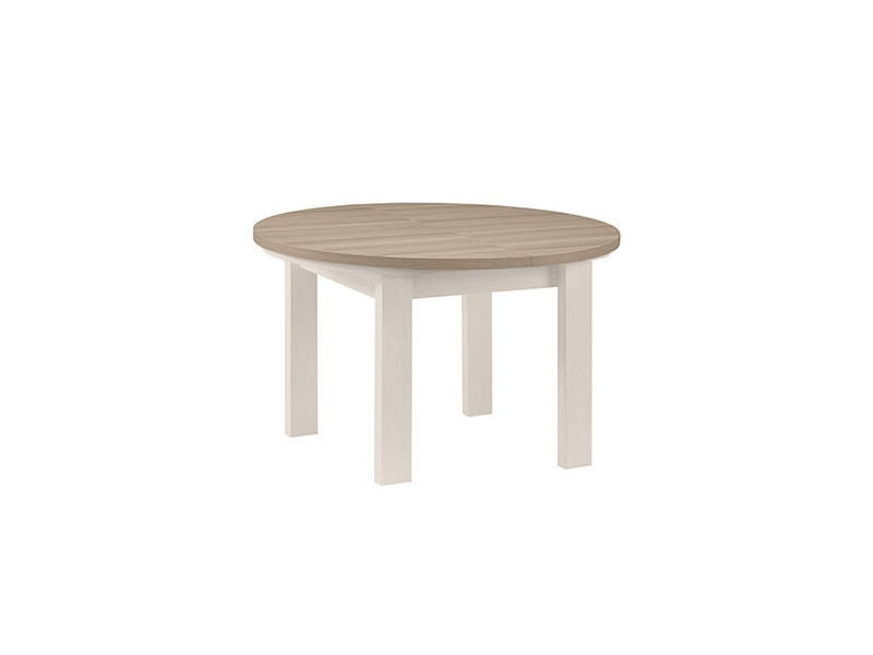 table ronde 1 allonge blanc et plateau naturel cassandre