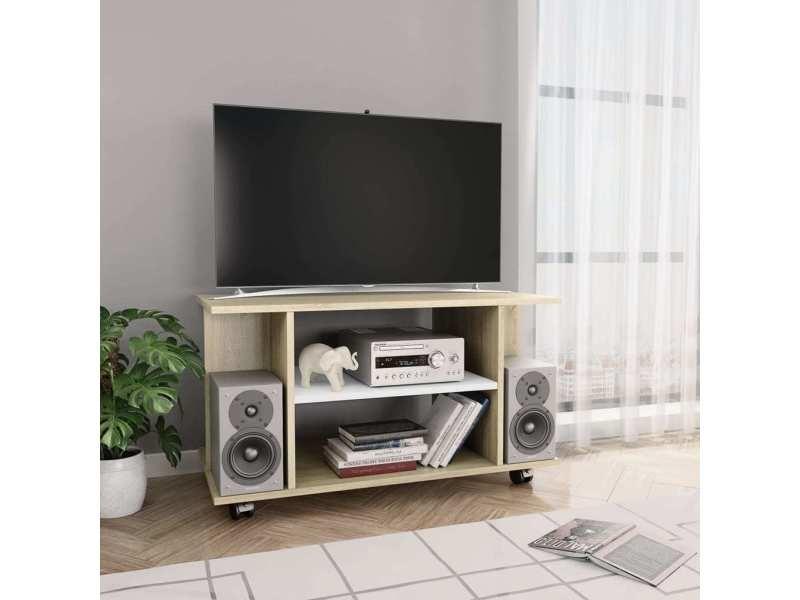 chic meubles ligne port louis meuble tv avec roulettes blanc et chene sonoma 80x40x40 cm