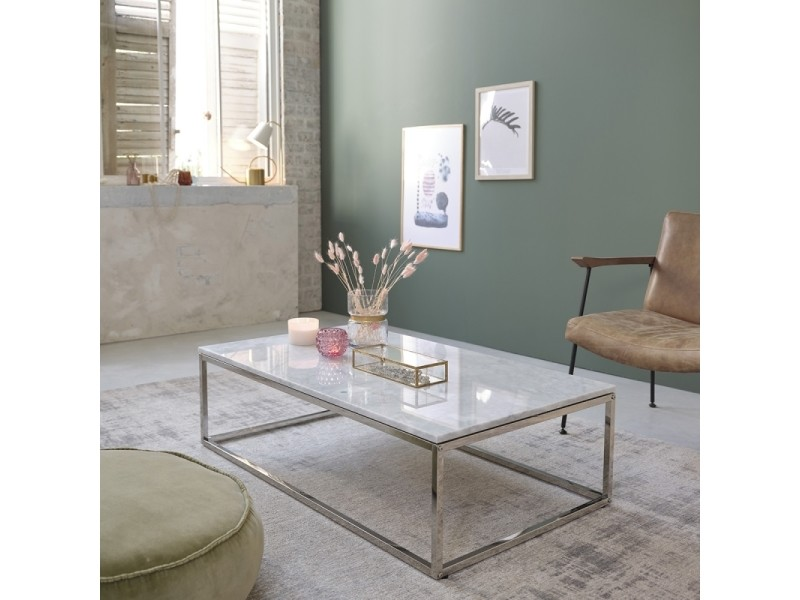 table basse rectangulaire en marbre et