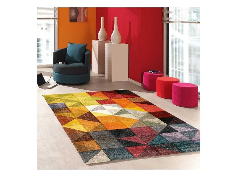 tapis design et moderne 160x230 cm rectangulaire sessom multicolore salon adapte au chauffage par le sol