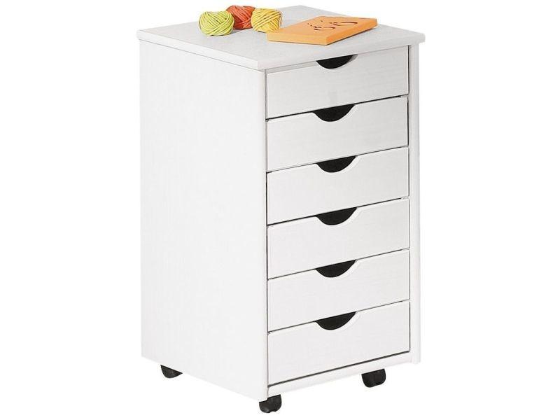 caisson blanc en bois massif sur roulettes avec 6 tiroirs p 2270 co felix vente de accessoires de bureau conforama