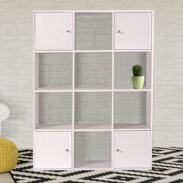 meuble de rangement cube rudy 12 cases bois blanc avec portes n15962532