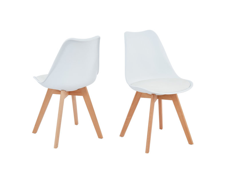 lot de 2 chaises blanches scandinave avec assise rembourree collection helga