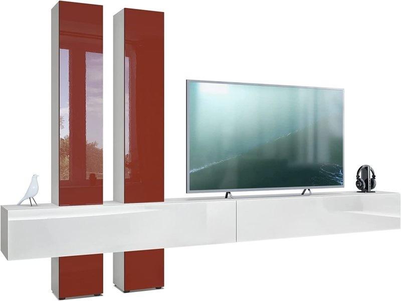 meuble tv blanc gris