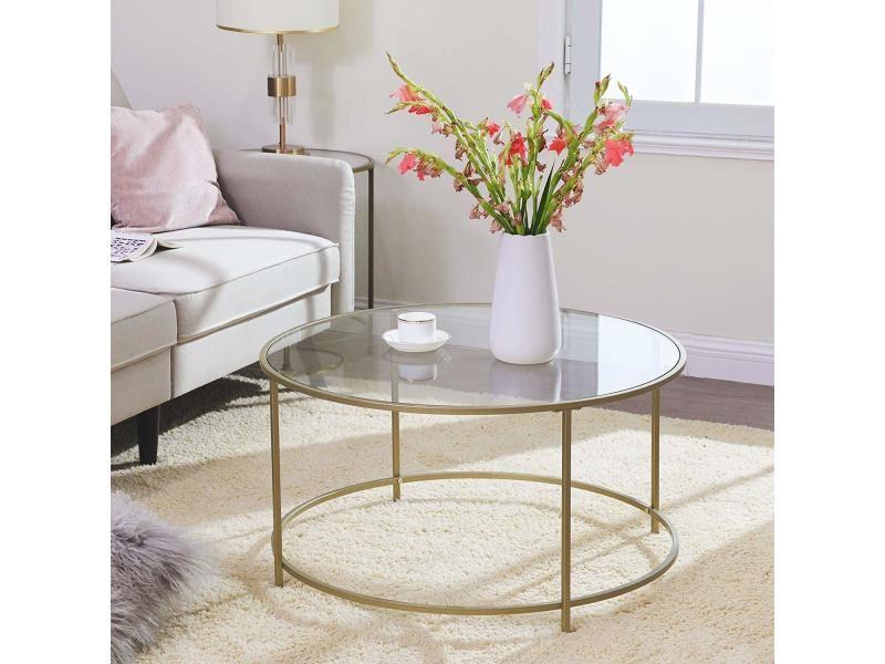 table basse ronde plateau en verre