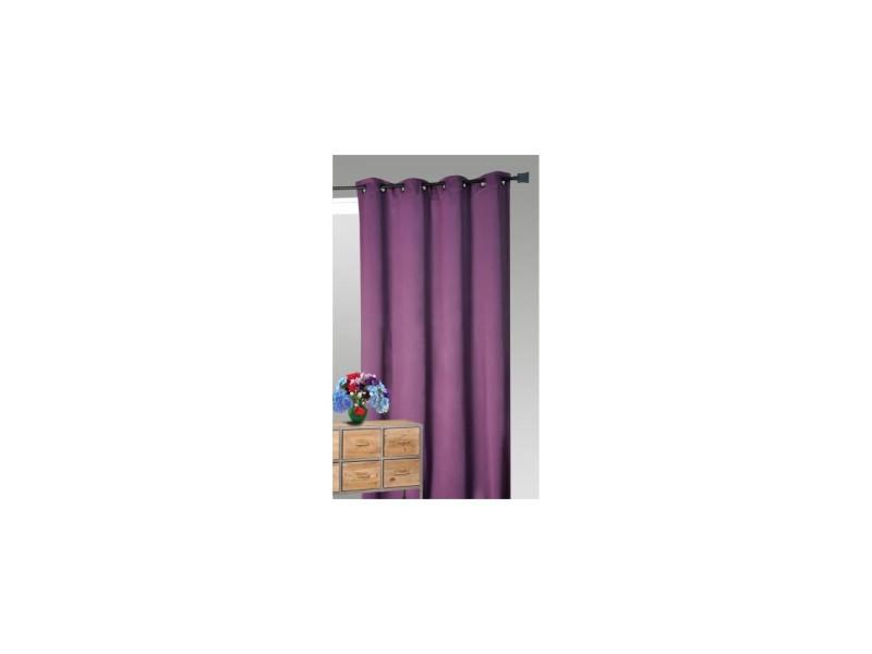 rideau isolant phonique et thermique 140x260cm prune