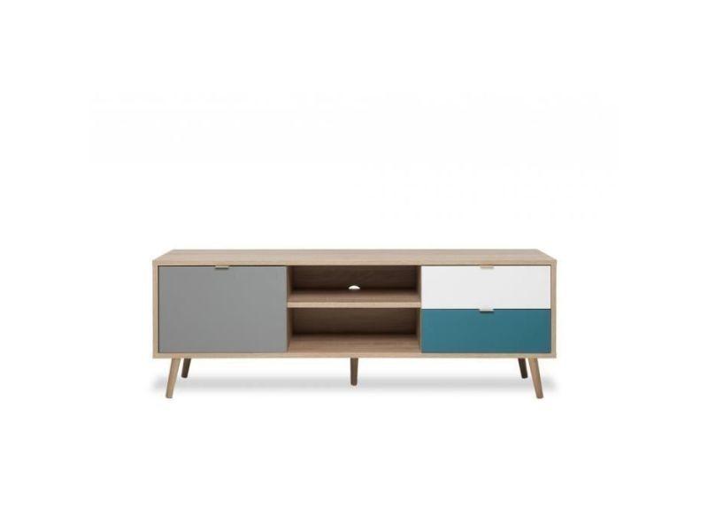 cuba meuble tv scandinave decor chene gris blanc et bleu petrole l 150 cm