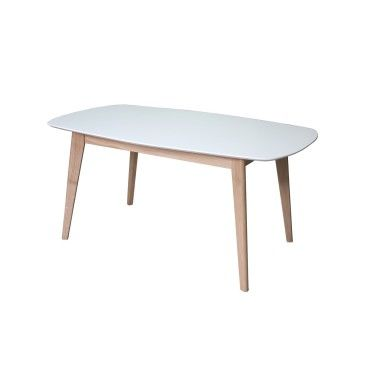 table de repas ovale chene blanchi et laque 1 allonge made in france z58205235