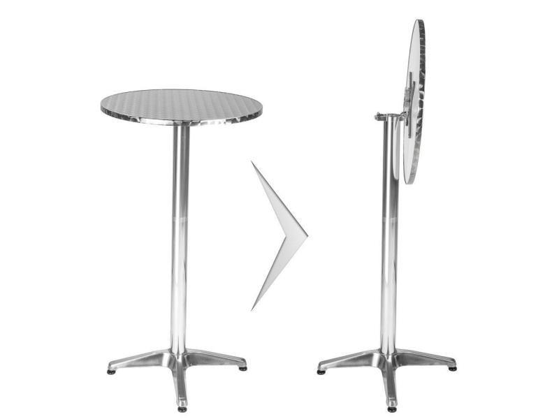 Mange Debout Aluminium Diametre Table 60 Cm Diametre Pied 5 8 Cm Pliable Hauteur Reglable 74 114 Cm Gris Helloshop26 2008193 Vente De Table Conforama