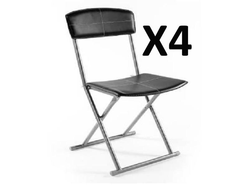 lot de 4 chaises pliantes pvc polyurethane en noir pegane