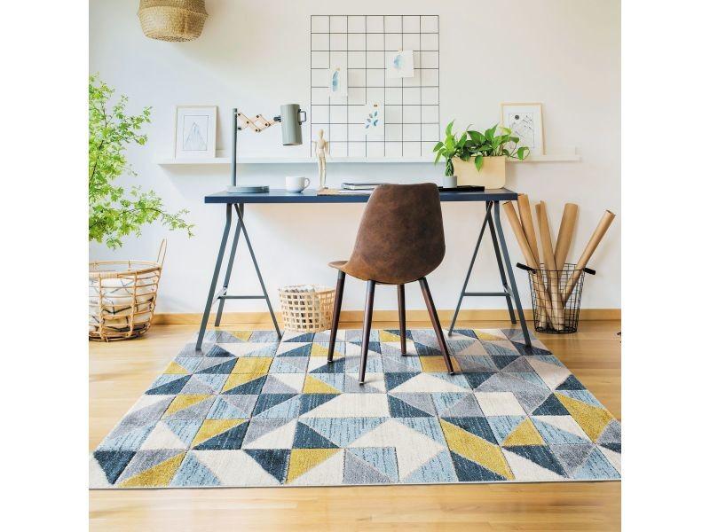 fjord tapis aspect laineux motif carres bleu et jaune 160x230