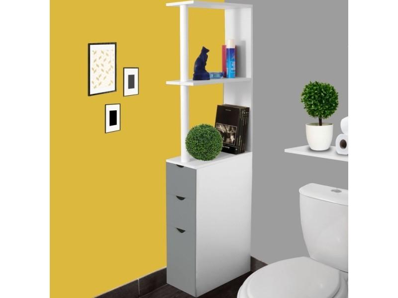 Meuble Wc Etagere Bois 3 Portes Blanc Et Gris Gain De Place Pour Toilettes Vente De Id Market Conforama
